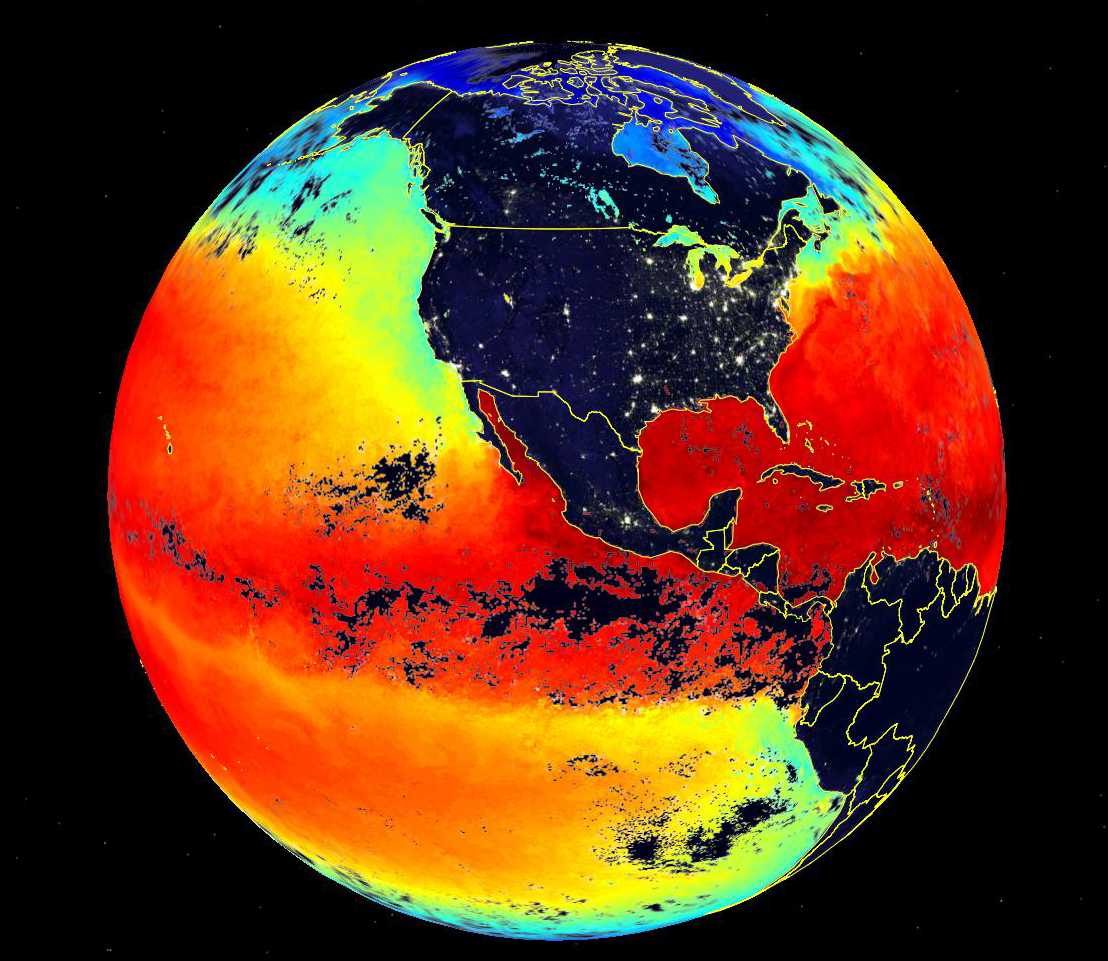 Sea surface temperature and night lights data